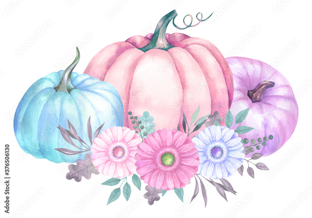 Fototapeta Watercolor design with delicate pastel pumpkins and flowers.