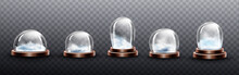 Realistic Glass Domes With Sno...