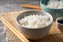 Rice In A Porcelain Bowl, With...
