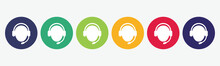 6 Circles Set With Support Icon In Various Colors. Vector Illustration.