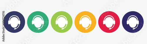 6 circles set with support icon in various colors Canvas