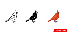 Cardinal Bird Icon Of 3 Types Color, Black And White, Outline. Isolated Vector Sign Symbol.