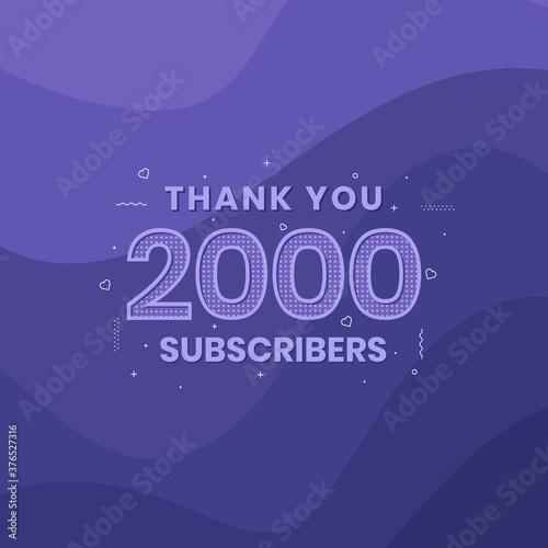 Slika na platnu Thank you 2000 subscribers 2k subscribers celebration.