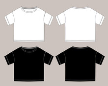 Vector Technical Sketch Of Crop Top T Shirt With Short Sleeves