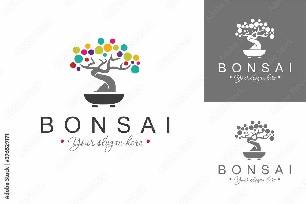 Fototapeta Bonsai Logo. Colorful Logo Design Template