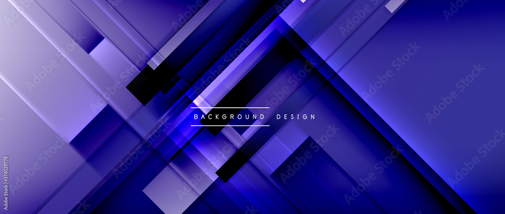 Fototapeta Dynamic lines on fluid color gradient. Trendy geometric abstract background for your text, logo or graphics