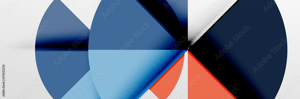 Bright color circles, abstract round shapes and triangles composition with shadow effects. Vector modern geometric design template