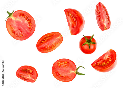 Tablou Canvas Tomato sliced isolated on white, top view