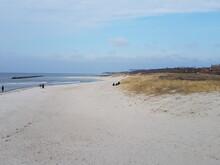 Sand Am Meer Mit Himmel Und Gras