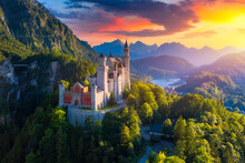 Aerial View Of Neuschwanstein ...