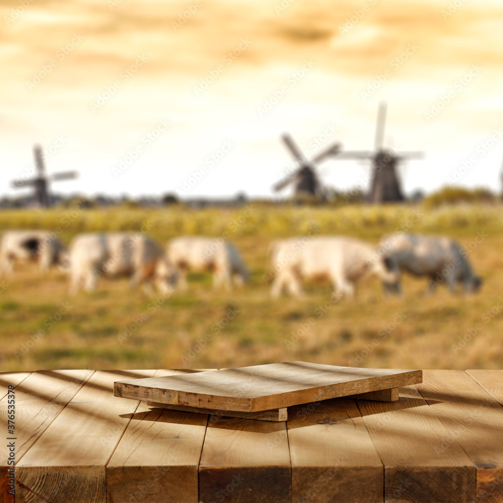 Fototapeta Desk of free space and blurred landscape of farm