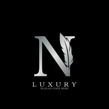 Silver Luxury Feather Initial Letter N Logo Icon, Creative Alphabet Vector Design.