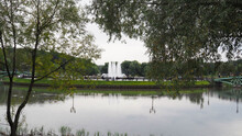 """Fountain On The Pond In The Park """"Tsaritsyno"""""""