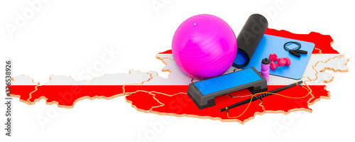 Photo Fitness in Austria. Gym equipments on Austrian map. 3D rendering