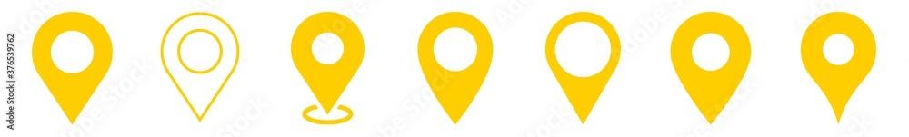 Fototapeta Location Pin Icon Yellow | Map Marker Illustration | Destination Symbol | Pointer Logo | Position Sign | Isolated | Variations