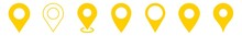 Location Pin Icon Yellow | Map Marker Illustration | Destination Symbol | Pointer Logo | Position Sign | Isolated | Variations