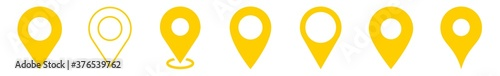 Foto Location Pin Icon Yellow | Map Marker Illustration | Destination Symbol | Pointe