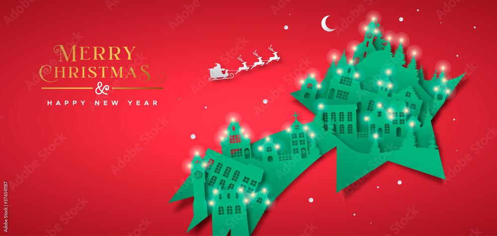 Fototapeta Christmas New Year paper cut star winter city