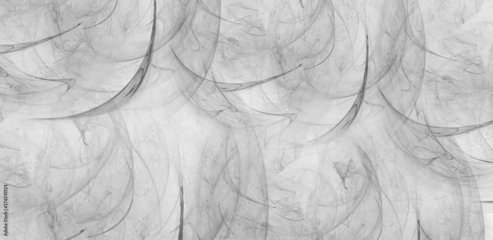 Fototapeta Gray scale abstract wavy fractal design art work.