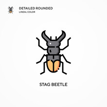 Stag Beetle Vector Icon. Moder...