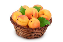 Apricot Fruit In Wicker Basket Isolated On White Background. Clipping Path And Full Depth Of Field