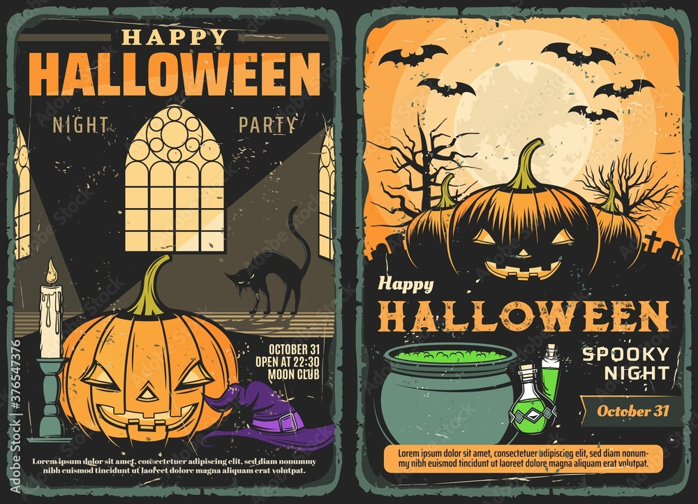 Fototapeta Halloween pumpkins, bats and moon vector design of spooky night party. Horror haunted house with witch hat, cat and potion cauldron, creepy graveyard, moon, bats and trees retro invitation posters