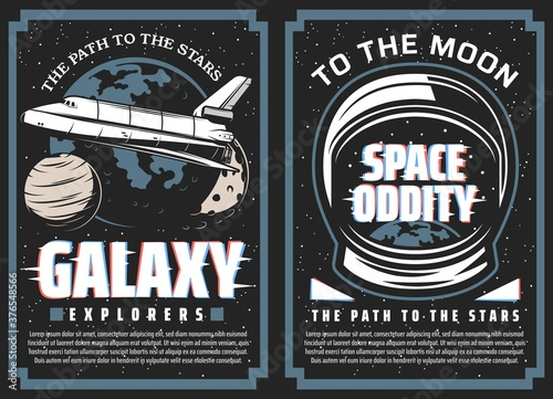 Fotografie, Obraz Galaxy explorers, space travel to stars vector banners