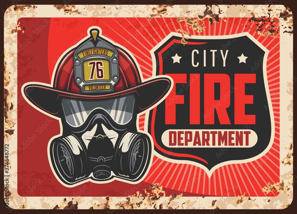 Fototapeta City fire department rusty metal plate. Firefighters helmet or leatherhead with badge, self-contained breathing apparatus or gas mask vector. Emergency situations rescue service retro banner