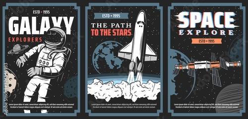 Space and galaxy explore program vector posters Fotobehang