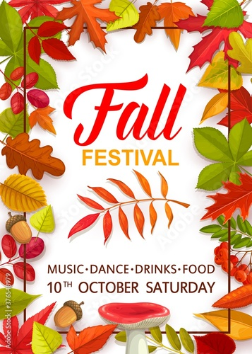 Fall festival flyer with bright tree leaves and mushrooms, vector invitation template for autumn season party celebration with music and dance. Cartoon design with chestnut, russula, rowan, oak acorn