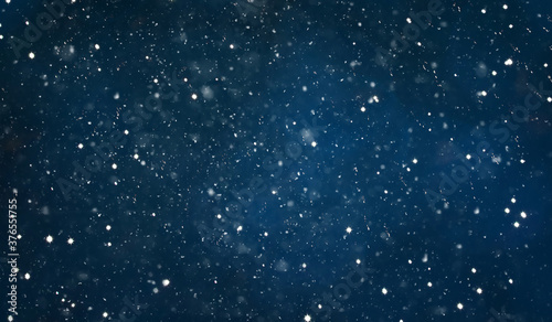 Navy Blue Night Background with falling snow