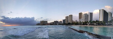 Panoramic Of Waves Rolling Towards Protected Water Of Waikiki Beach