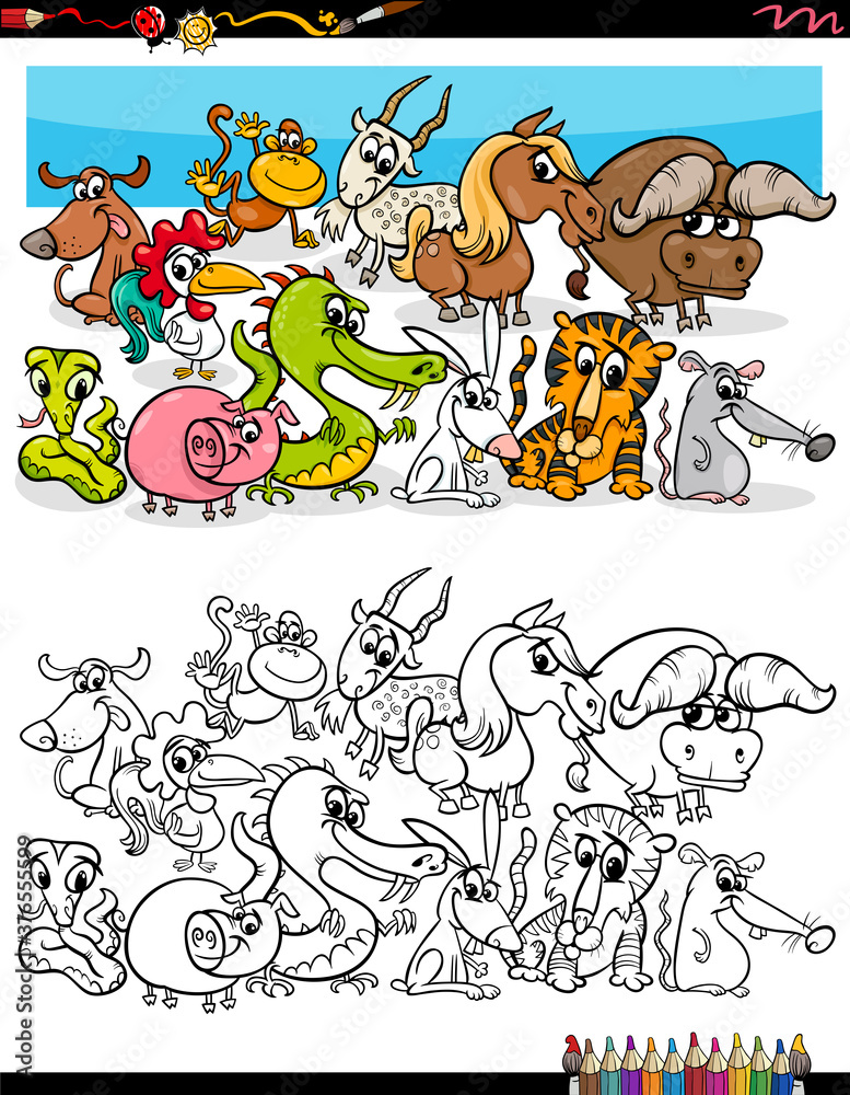 Fototapeta cartoon funny animals group coloring book page