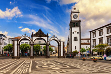 Portas Da Cidade, The City Symbol Of Ponta Delgada In Sao Miguel Island In Azores, Portugal. Portas Da Cidade (Gates To The City), Ponta Delgada, Sao Miguel.