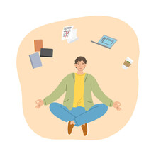 Man Trying To Concentrate And Not To Think About Work Aand Articles And Meditating