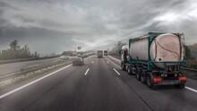 Trucks Road . Tanker For The Transport Of Solvent