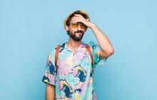Young Bearded Tourist Man Pani...