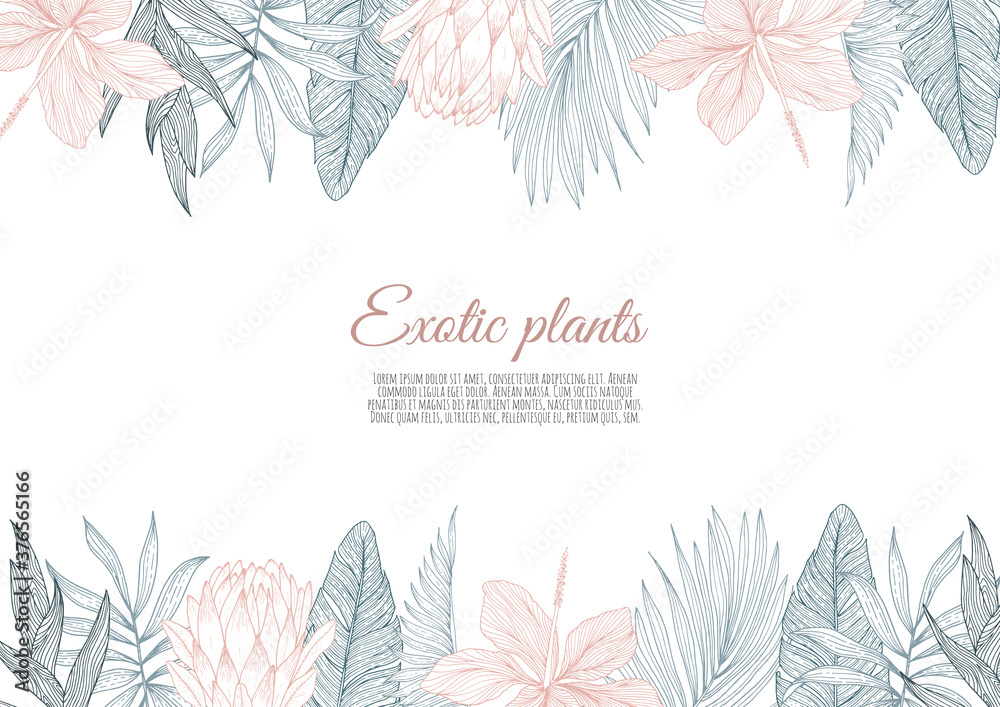 Fototapeta A border frame design decorated with floral tropical palm leaves and flowers