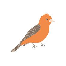 Crossbill Bird Icon, Flat Style