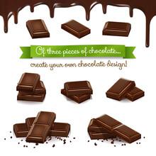 Set Of Three Pieces Of Chocola...