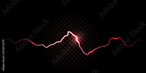 Photo Thunder spark, electric red flash vector background
