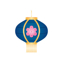Decorarive Chinese Lantern With Flower Icon, Detailed Style