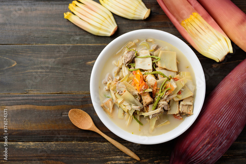 Northern Thai food (Kaeng Hua Plee), banana flower spicy soup with pork in a bow Wallpaper Mural