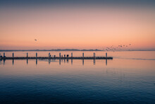 Fishing Docks At Sunset And Birds Flying Around. Dreamy Image.
