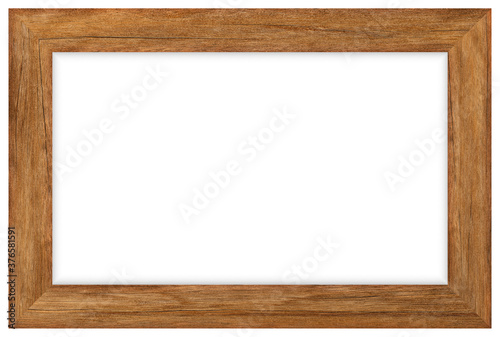 Brown wooden picture frame isolated on white background with clipping path Canvas Print