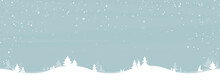 Landscape Winter Season. Sky Blue With White Tree And Snowing. Cartoon Style. Christmas And New Year Background In Winter. Space For Your Text. Vector Illustration.
