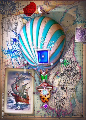 Travel by balloon. Surreal and steampunk hot air balloon with old papers, drawings and maps © Rosario Rizzo