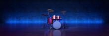 Drum Kit Studio Setup On A Dark Background