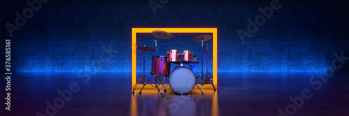 Obraz Drum kit studio setup on a dark background - fototapety do salonu