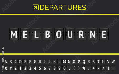 Flight info of destination in Australia Melbourne typed by airport flip board mechanical font with airplane departure icon Tableau sur Toile